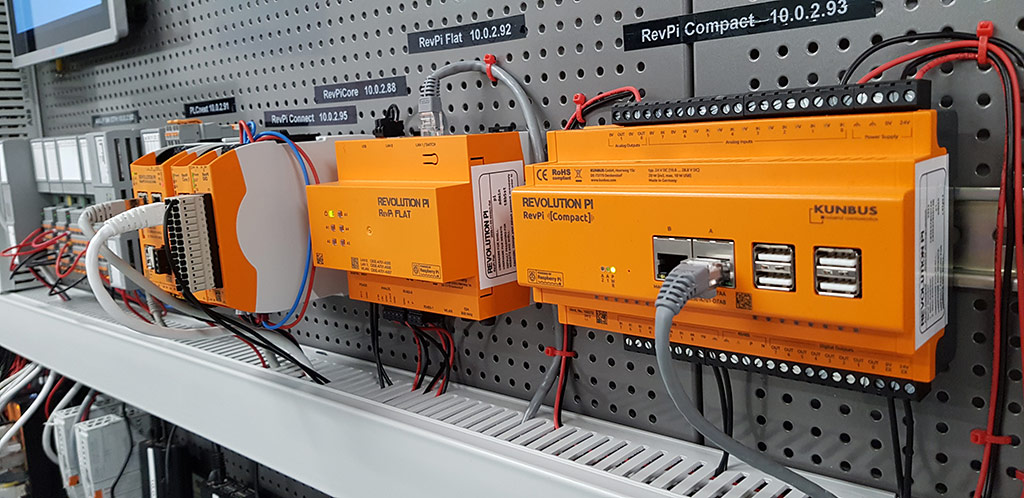 Picture of RevPi modules on DIN rail at CDP Studio lab