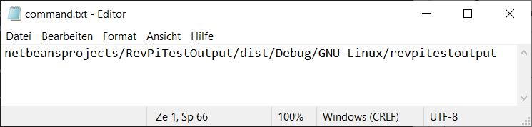 Screenshot of the Windows editor showing the contents of command.txt to run revpitestoutput