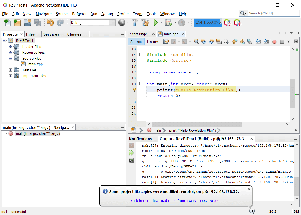Screenshot of Netbeans showing a successful build with the newly configured build host