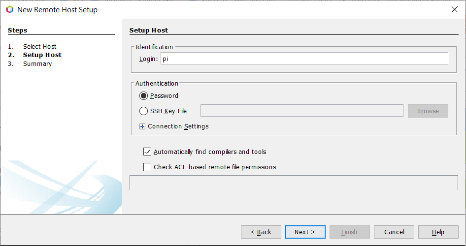 "Screenshot of Netbeans setup for new remote host with entered login ""pi"""