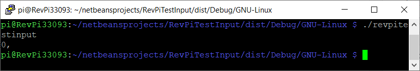 SSH console showing the output of revpitestinput