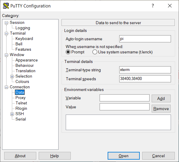 Screenshot of PuTTY Configuration showing where to type in the Auto-login username