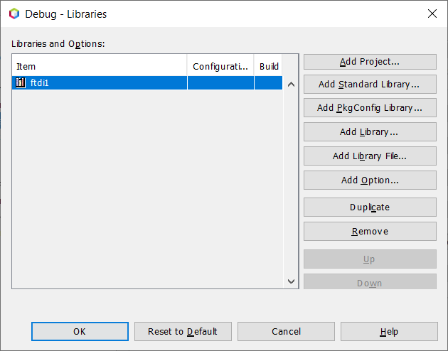 Screenshot of the Netbeans Project Properties showing the list of the libraries used in the project