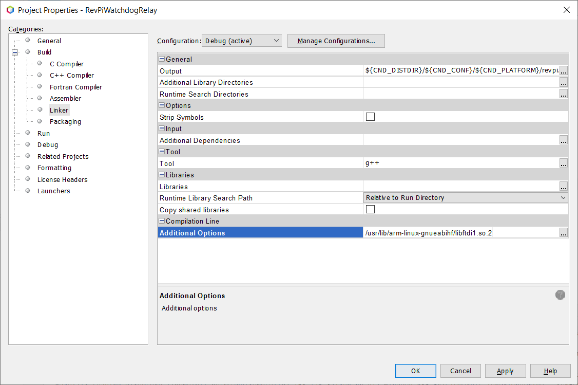Screenshot of the Netbeans Project Properties showing where to type in the path of the FTDI library