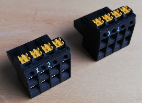 X2 and X4 push-in terminal blocks with double row terminals