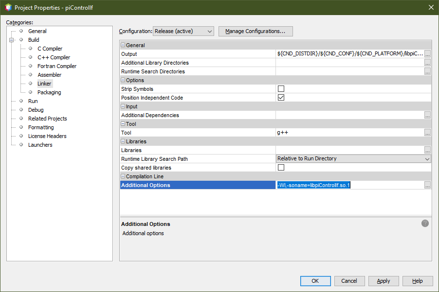 Screenshot of Netbeans Project Properties dialog showing where to set the so-name