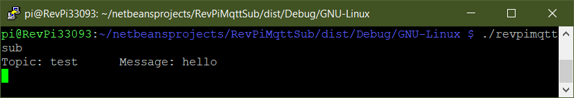 Terminal session that displays the output of revpimqttsub when the above message is sent.