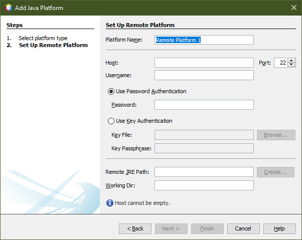 """Screenshot of netbeans showing the dialogue form """"Add Java platform"""" with the input form for the platform setup, such as host name, etc."""